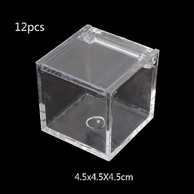 NKYSM Joyero Caja de Regalo 12pcs Pequeño Transparente Cuadrado Acrílico Joyas Cajas para Collar Anillo Pendientes: Amazon.es: Joyería