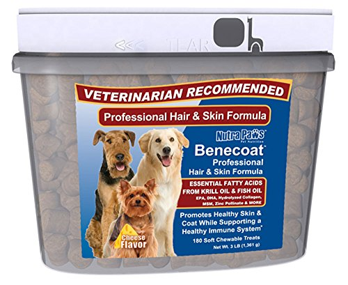 Benecoat Fish Oil for Dogs w Krill Oil, Omega 3 Fatty Acids, EPA, DHA, Collagen, MSM and Zinc | Value Size 180ct | the Best Cheese Flavored Skin and Coat Supplement for Sensitive, Dry, Itchy Skin.