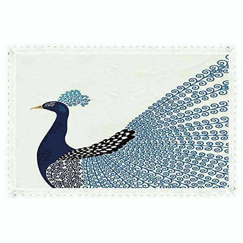 "60""x84"" Rectangle Polyester Linen Tablecloth,Animal,Exotic Wild Magnificent Bird with Feather Peacock Modern Image Artwork,Dark Blue Blue and Black,for Dinner Kitchen Home Decor"