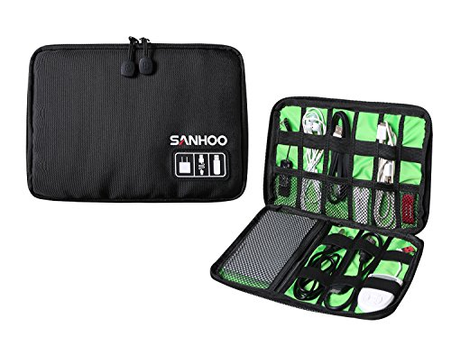 SanHoo Universal Cable Organizer / Electronics Accessories Case USB Drive Shuttle-an All in One Travel Organizer - (Black)-100% Satisfaction Guaranteed