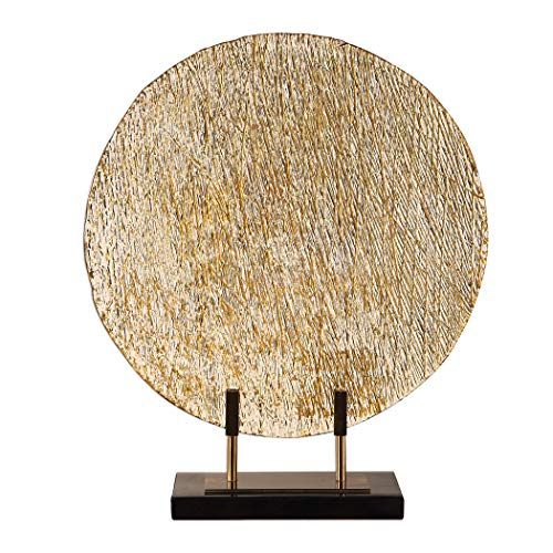 My Swanky Home Elegant Bronze Gold Modern Art Glass Charger Stand | Flat Plate Disc ()
