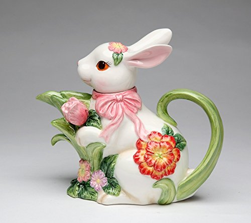 Cg 10445 White Bunny with Pink Ribbon & Flower Designs Teapot Collectible