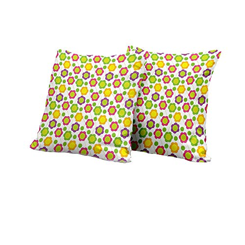 Stool Cushion Cover Green Flower,Patchwork Style Pattern with Geometrical Abstract Dotted Lines Applique Design,Multicolor Couch Pillow Covers 14x14 INCH ()