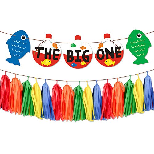 The Big One Paper Banner Bobber Gone Fishing Theme Garland Little Fisherman Baby First Birthday Cake Smash Reel Fun Ideas O-fish-ally One Photo Props Fishing Tassel Decorations Supplies ()