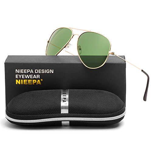 Aviator Polarized Sunglasses Classic Metal Frame TAC Lenses Driving Sun Glasses Retro Mens Womens Eyewear UV400 Protection Darkgreen Lens/Gold Frame