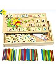 Felly Montessori houten houten houten speelgoed leerdoos, leerhorloge, tellen van stokken, tekening houten plank, cijfers, pedagogisch leren speelgoed voor peuters kinderen vanaf 3 tot 5 jaar