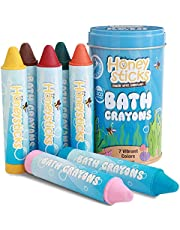 Honeysticks Bath Crayons for Toddlers & Kids - Handmade from Natural Beeswax for Non Toxic Bathtub Fun - Fragrance Free, Non-Irritating Bath Toys - Bright Colours and Easy to Hold - Washable - 7 Pack