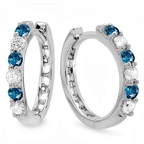 0.33 Carat (ctw) 14k White Gold Round Blue & White Diamond Ladies Huggies Hoop Earrings 1/3 (Rings Ladies Diamond Earrings)