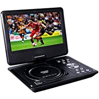 Portable DVD Player, Buyee Rotating Swivel Screen Handheld Portable DVD Player LCD Screen with Function of VCD CD SD TV MP3 MP4 USB Games Car Charge (7 inch)