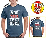 Tee Miracle Custom 2 Sided T-Shirts - Design Your Own Shirt - Front and Back Printing on Shirts - Add Your Name Text Number