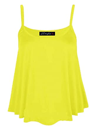 40f6dfec2d0 Fashion Valley Womens Plain Flared Swing Vest Sleeveless Top Strappy Cami Ladies  Plus Size 8-22 UK XXL 20-22 Yellow  Amazon.co.uk  Clothing