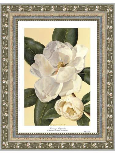 Morning Framed Poster - Poster Palooza Framed Morning Magnolia- 6x8 Inches - Art Print (Ornate Silver Frame)