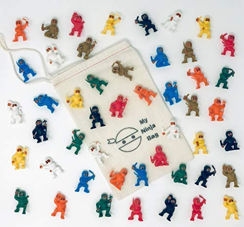 Bag of 50 Ninjas Warriors Figures Cup Cake Toppers Kung Fu Martial Arts Men Party Favors ()