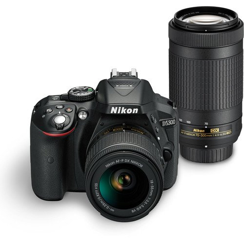 Nikon D5300 24.2MP Digital SLR Camera(Black) with AF-P 18-55 and AF-P DX NIKKOR 70-300mm f/4.5-6.3G VR Kit, Free Camera Bag and 16GB Memory Card