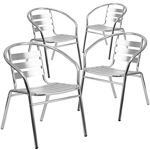 Flash Furniture 4 Pk. Commercial Aluminum Indoor-Outdoor Restaurant Stack Chair with Triple Slat Back and Arms Patio Furniture Stack Chairs