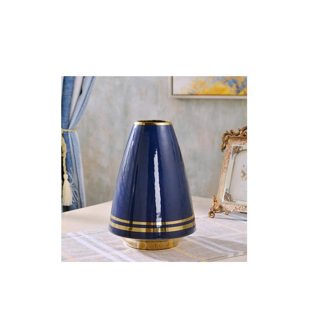 HBJP 陶磁器の円錐形の花瓶の居間のカウンタートップの乾燥した花瓶の飾り/青 花瓶 (サイズ さいず : 18cm×26cm) B07RV7VDPW  18cm×26cm