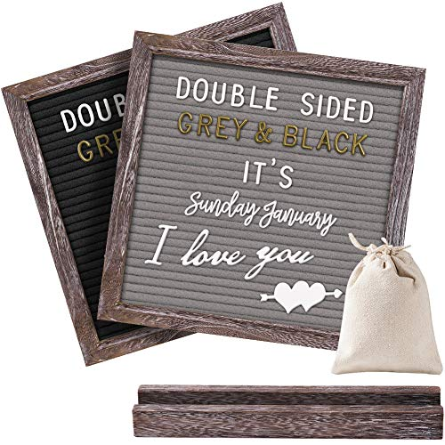Gelibo Double Sided Letter Board with 750 Precut White & Gold Letters,Months & Days & Extra Cursive Words, Wall & Tabletop Display, Letter Bags, Scissors