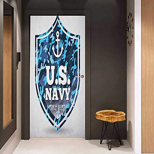 Wood Door Sticker Anchor Military Camouflage with US Navy Since 1882 Uniform Army Force Ship Easy-to-Clean, Durable W32 x H80 Blue White Navy Blue -