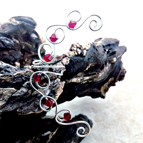 No Crystal Ruby - Ruby Red Crystal Ear Climber Cuff - No Piercing Required, Single or Pair