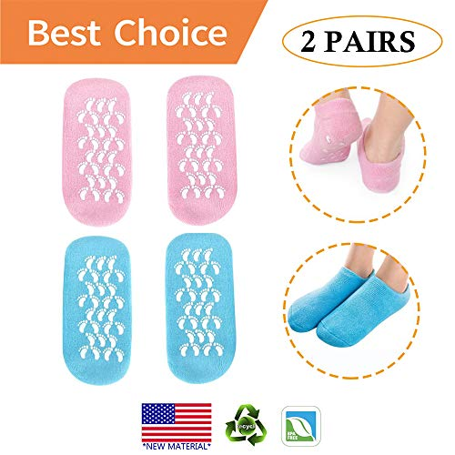 Moisturizing Gel Socks - Moisturizing Socks, 2 Pairs Gel Socks Soft Moisturizing Gel Socks, Gel Spa Socks For Repairing and Softening Dry Cracked Feet Skins, Gel Lining Infused with Essential Oils and Vitamins (BLUE & PINK)