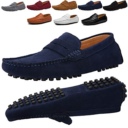 JIONS Men's Driving Penny Loafers Suede Driver Moccasins Slip On Flats Casual Dress Shoes Blue 8.5 D(M) US/EU 42