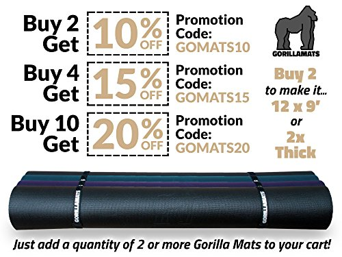 Premium Extra Large Yoga Mat - 9' x 6' x 8mm Extra Thick & Comfortable, Non-Toxic, Non-Slip, Barefoot Exercise Mat - Yoga, Stretching, Cardio Workout Mats for Home Gym Flooring (108'' Long x 72'' Wide) by Gorilla Mats (Image #7)