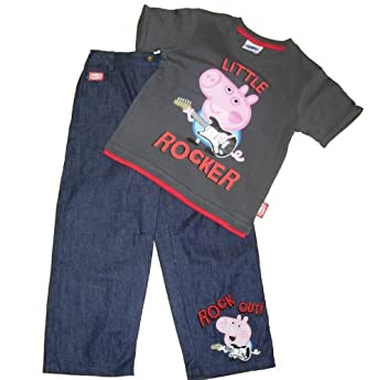 43c362d18 Peppa Pig Boys George Outfit (6-9 Months) Dark Grey: Amazon.co.uk: Clothing