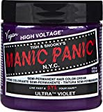 Manic Panic Ultra Violet Purple Color Cream - Classic High Voltage - Semi-Permanent Hair Dye - Vivid, Purple Shade - For Dark, Light Hair - Vegan, PPD & Ammonia-Free - Ready-to-Use, No-Mix Coloring