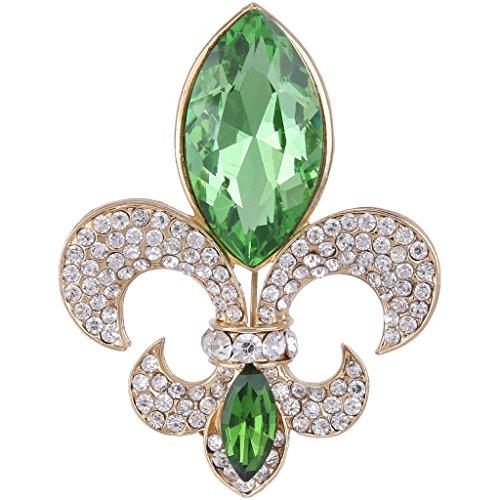 EVER FAITH Rhinestone Crystal Elegant Fleur-de-lis Flower Teardrop Brooch Apple Green Gold-Tone ()