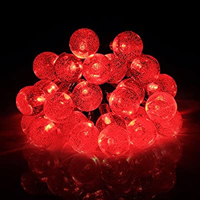 Habor Solar Outdoor String Lights 20ft 30 LED Red Crystal Ball Solar Powered Globe Fairy Lights for Garden Fence Path Patio Stage Landscape Christmas Tree Party Decoration (30 LED Red)