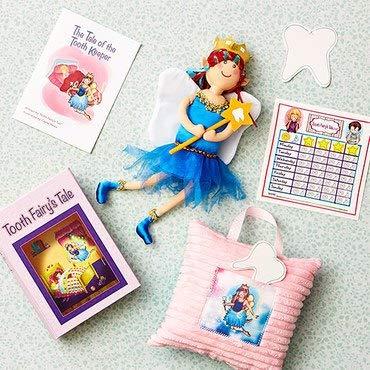 Tooth Fairy s Tale Girls Keepsake Box Kit Book, Pillow, Child Teeth Chart