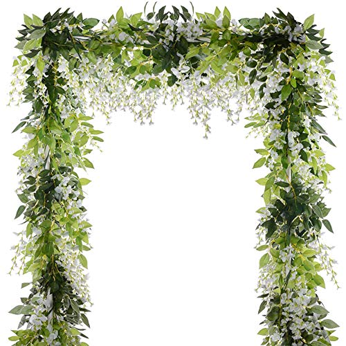 5 Pcs (Total 32.8Ft) Artificial Wisteria Garland Wisteria Vine Rattan Fake Wisteria Vine Flower Garland for Wedding…