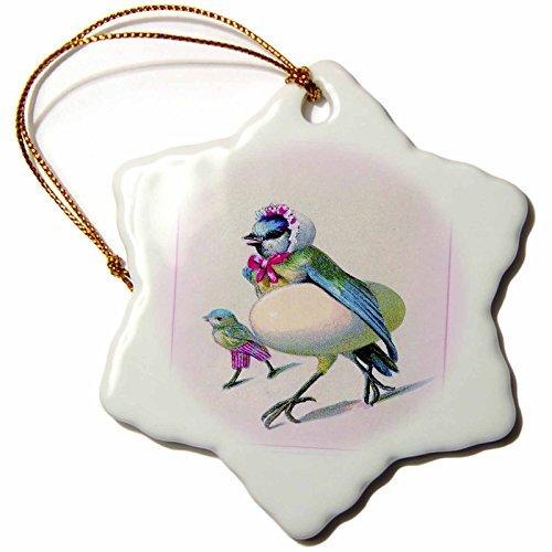 Christmas Ornament Florene Humor - Humorous Mama n Baby Bird With Egg - Snowflake Porcelain Ornament ()