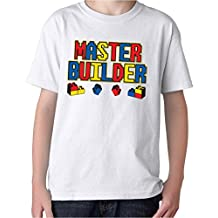 Crazy Happy Tees Boy's Lego Master Builder Funny T-shirt Light White