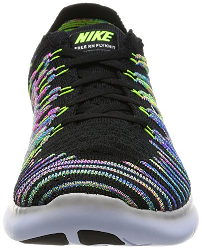Nike Menns Gratis Rn Flyknit, Svart / Hvit-volt-blå Lagune, 13 M Oss