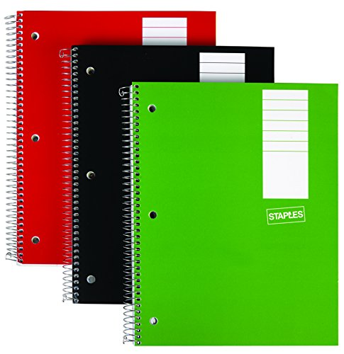 """Staples 3 Subject Notebook, 8"""" x 10-1/2"""", 3/Pack"""