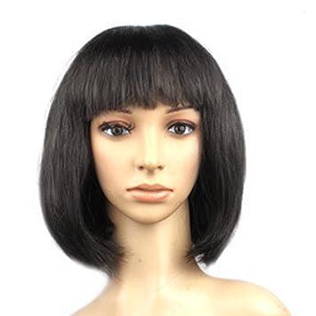Amazon Com Bob Short Wigs Straight Full Front Fringe Wave Shoulder