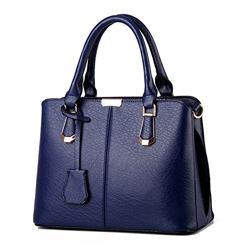 - Pahajim women handbags PU leather top handle satchel tote purse shoulder bags (deep blue)
