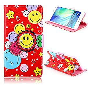 QJM 20150511 Sunflower Smile Pattern PU Leather Case with Stand for Samsung Galaxy A7