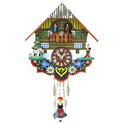 Black Forest Clock Black Forest House, turning dancers, incl. battery TU 263 SQ