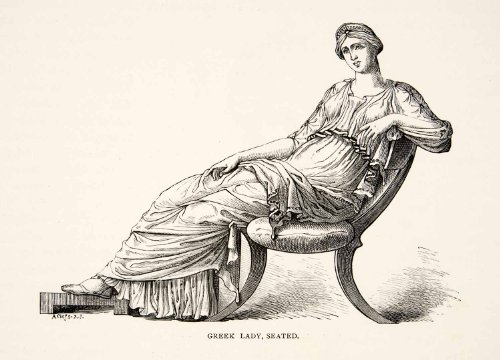 Toga Lady Costumes (1886 Wood Engraving Greek Woman Lady Chair Toga Costume Crown Seated Dress Art - Original In-Text Wood Engraving)