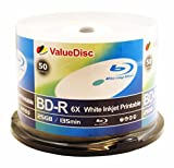 ValueDisc BD-R 6X 25GB WHITE INKJET PRINTABLE 50PK in Spindle