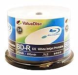 ValueDisc BD-R 6X 25GB WHITE INKJET PRINTABLE 50PK in Spindle