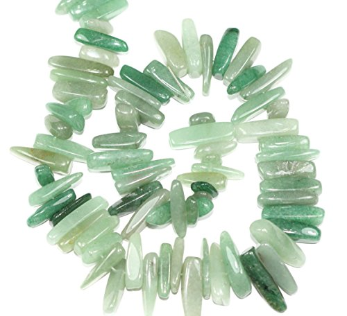 AAA Natural Green Aventurine Gemstones Smooth Tooth-Shaped Free-form Loose Beads ~23x7mm beads ( ~16