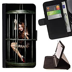 DEVIL CASE - FOR Samsung Galaxy Note 4 IV - Funny Sexy Pin Up Girl - Style PU Leather Case Wallet Flip Stand Flap Closure Cover