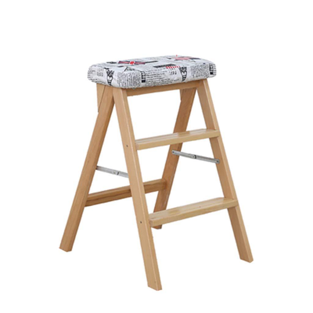 ハイチェア ステップスツール 木製のはしご 階段 棚 踏み台 純木 デュアルユースクライム 取り外し可能な布カバー 家庭 キッチン インドアアセンド 高さ64cm B07SN24FZC A