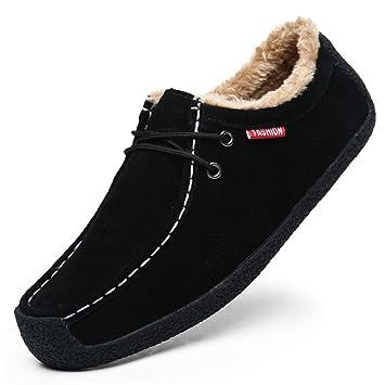 YAN Zapatos de Cuero para Hombre, Mocasines Invierno/Zapatos de Terciopelo más Bajos, cálidos Zapatos Casuales, Zapatos para Caminar, Moda, Negro, ...