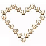 Rely2016 Antler Table Number, 1-20 Animal Shape Deer Horn Wedding Wood Table Numbers Reception Stands Décor for Wedding Banquet Birthday Party Events