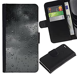 EuroTech - Apple Iphone 4 / 4S - Rain Gray Grey Mood Clouds Window Fall - Cuero PU Delgado caso Billetera cubierta Shell Armor Funda Case Cover Wallet Credit Card