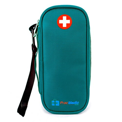 PracMedic EPIPEN Case, Insulated - Holds 2 Epi Pens/Auvi-Q, Asthma Inhaler, Generic Benadryl Small, Nasal Spray, Eye Drops, Medicine, Vials, Syringes, Ice Pack- Sold Empty (Teal)